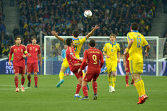 Ukraine and Spain national football teams are playing against each other Stock Image