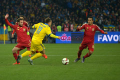 Ukraine and Spain national football teams are playing against each other Royalty Free Stock Photography