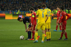 Ukraine and Spain national football teams are playing against each other Royalty Free Stock Photos