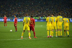 Ukraine and Spain national football teams are playing against each other Stock Photography