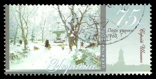Winter Park by Sergey Shyshko. Ukraine - stamp 2005: Color edition on Art, shows Painting Winter Park by Sergey Shyshko Royalty Free Stock Photo