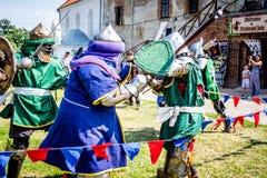 Ukraine. Staroskonstantinov August 2018. Fight of Knights at the. Medieval Festival stock photos