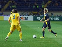 Ukraine - Sweden national teams football match Royalty Free Stock Image