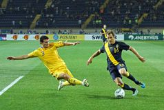 Ukraine - Sweden national teams football match Royalty Free Stock Photography