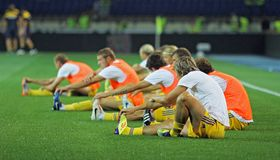Ukraine - Sweden teams football match Stock Photos