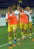 Ukraine - Sweden teams football match Royalty Free Stock Photo