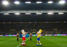 Ukraine - Sweden teams football match Stock Image
