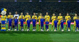 Ukraine - Sweden teams football match Royalty Free Stock Photo
