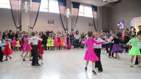 UKRAINE, TERNOPIL, MARCH 12, 2016: Children dancing contest in modern hall. In full HD stock footage