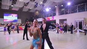 UKRAINE, TERNOPIL, MARCH 12, 2016: Dance competition in the ballroom. In full HD stock video