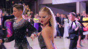 UKRAINE, TERNOPIL, MARCH 12, 2016: Dance competition in the hall. In full HD stock footage