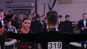 UKRAINE, TERNOPIL, MARCH 12, 2016: Dance couple start to move. In full HD stock video