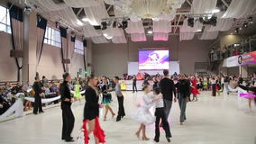 UKRAINE, TERNOPIL, MARCH 12, 2016: dancers in the ballroom dancing. In full HD stock video footage
