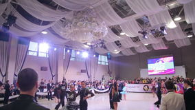 UKRAINE, TERNOPIL, MARCH 12, 2016: Hall with ballroom dancers. In full HD stock video