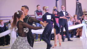 UKRAINE, TERNOPIL, MARCH 12, 2016: Hall with ballroom teens. In full HD stock video