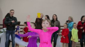UKRAINE, TERNOPIL, MARCH 12, 2016: Little girls repetition on dancing contest. In full HD stock video footage