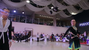 UKRAINE, TERNOPIL, MARCH 12, 2016: Professional dance competition with adults. UKRAINE, TERNOPIL, MARCH 12, 2016: Professoinal dance competition with adults in stock footage