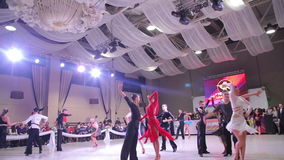 UKRAINE, TERNOPIL, MARCH 12, 2016: Teens dance contest in the ballroom. In full HD stock video footage