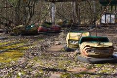 ukraine Tjernobyl uteslutandezon - 2016 03 19 Övergett nöjesfält i den Pripyat staden Royaltyfri Foto