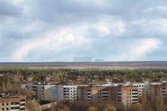 ukraine Tjernobyl uteslutandezon - 2016 03 19 Byggnader i den övergav staden av Pripyat Royaltyfria Foton