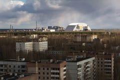 ukraine Tjernobyl uteslutandezon - 2016 03 19 Kärnkraftverket Sikt från Pripyat Royaltyfri Fotografi