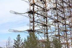 ukraine Tjernobyl uteslutandezon - 2016 03 20 Sovjetisk radarlätthet DUGA Arkivfoto
