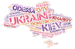 Ukraine top travel destinations word cloud Royalty Free Stock Image