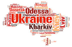 Ukraine top travel destinations word cloud. Ukraine map silhouette word cloud with most popular travel destinations Stock Photography