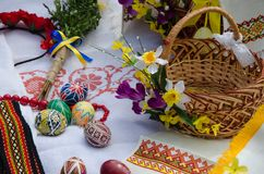 Ukraine tradition eggs Easter. Ukraine tradition eggs in the spring Easter Royalty Free Stock Photo