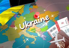 Ukraine travel concept map background with planes,tickets. Visit stock illustration