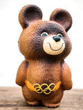 UKRAINE, UKRAINE - JULY 26, 2017: Vintage Russian Olympic bear toy. Close-up Stock Photos