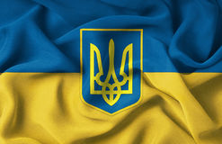 Ukraine. The Ukrainian flag with the emblem in the middle stock photos