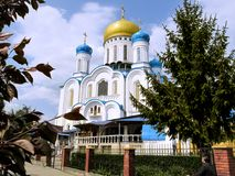Amazing Holy Cross Cathedral in the center of Uzhgorod royalty free stock photos