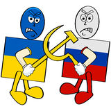 Ukraine versus Russia. Concept illustration showing a Ukrainian flag fighting with a Russian flag Stock Photos