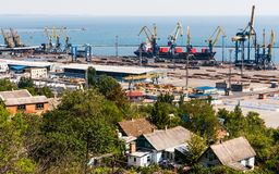 Ukraine.  Mariupol on the coast of the Azov Sea. Ukraine.  View from above to the seaport and the city of Mariupol located on the coast of the Azov Sea on a fall Stock Photos