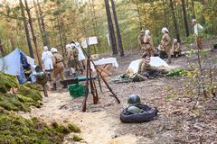 Ukraine, Voronezh - September 2, 2018: Reconstruction of the Second World War, field hospital of Russian soldiers stock photo