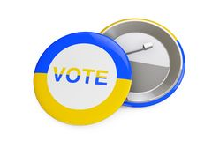 Ukraine Voting Concept. Badge with Ukraine Flag and Vote Sign. 3d Rendering. Ukraine Voting Concept. Badge with Ukraine Flag and Vote Sign on a white background vector illustration