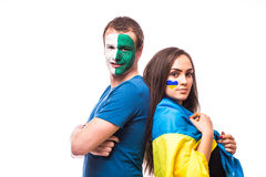 Ukraine vs  North Ireland before game on white background. Royalty Free Stock Photo