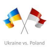 Ukraine vs Poland flags vector clipart stock photos