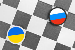 Ukraine vs Russia. Draughts (Checkers) - Ukraine vs Russia royalty free stock image