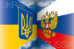 Ukraine vs russia flags Royalty Free Stock Photos