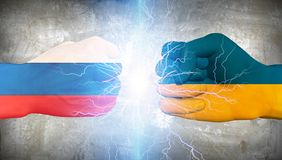 Ukraine vs Russia. Human elements were created with 3D software and are not from any actual human likenesses Royalty Free Stock Photo