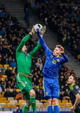 Ukraine vs Wales. KIEV, UKRAINE - MARCH, 28th: Serhiy Sydorchuk (R) of Ukraine in the fight for the ball with Wayne Hennessy of Wales during a friendly match Stock Photo