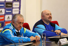 Ukraine - Wales: Pre-match press-conference in Kyiv, Ukraine Stock Photos