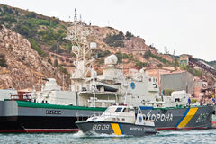 Ukraine warship in the Bay,Crimea Royalty Free Stock Image