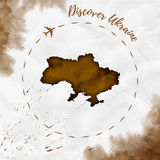Ukraine watercolor map in sepia colors. Discover Ukraine poster with airplane trace and handpainted watercolor Ukraine map on crumpled paper. Vector Royalty Free Stock Images