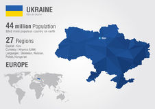Ukraine world map with a pixel diamond texture. Stock Image