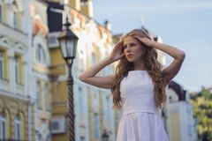 Young Caucasian girl resting in the city center of Kiev royalty free stock photo