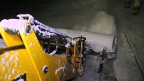 Ukraine, Zaporozhye - 10 January 2017: Tractors road service is purified from the sidewalks of snow. Snow machines. Ukraine, Zaporozhye - 10 January 2017 stock footage