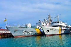 Ukrainean军舰在港口傲德萨,乌克兰 免版税库存图片